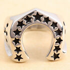 316L Men's Silver Lucky 13 Stars Horseshoe Stainless Steel Biker Wide Cast Ring