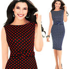 Fashion Women Vintage Sleeveless Bodycon Fitted Tunic Pencil Dresses Red White