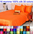 16 Momme 100% Pure Silk  Duvet Cover Fitted Flat Sheet Pillowcase Set Size Full