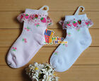 Set of 2 pairs Baby Girls Toddler Lace Ruffle Frilly StrawberryCotton Mesh Socks
