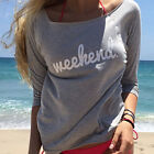 Fashion Women Ladies Casual Long Sleeve Crewneck Loose Blouse Sexy T Shirt Tops