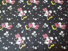 Disney Minnie Mouse Quilting Fabric Black Flowers Sewing By the Yard Fat Quarter