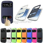 Flip View Front Window PU Leather Battery Cover Case For Samsung Galaxy S3 i9300