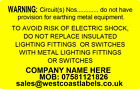 Electrical Safety Warning Labels - EARTHING CIRCUIT - Personalised Free