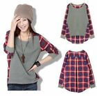 Fashion Women Autumn Casual Long-Sleeve Loose Plaid Checked T shirt Tops Blouse
