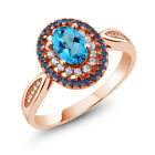 1.60 Ct American Blue Mystic Topaz 18K Rose Gold Plated Silver Ring