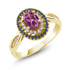 1.45 Ct Oval Pink Tourmaline 18K Yellow Gold Plated Silver Ring