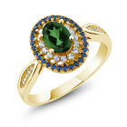 1.50 Ct Emerald Envy Mystic Topaz 18K Yellow Gold Plated Silver Ring