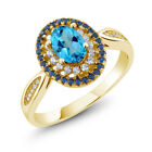 1.60 Ct Natural American Blue Mystic Topaz 18K Yellow Gold Plated Silver Ring