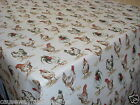 CHATHAM-GLYN VINTAGE ANIMAL PRINT HENS MULTI TEFLON COATED TABLECLOTH WIPE CLEAN