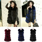 Newest Arrival Modern Lady Fake Fur Vest Long Gilet Round Neck Multi-Color