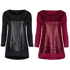 Marks & Spencer Womens Sequin Top New 3/4 Sleeve M&S Sparkly Party Tunic Blouse