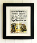 ART PRINT ON OLD ANTIQUE BOOK PAGE *FRAMED* Winnie the Pooh, Bear Quote, Tigger