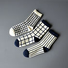 Unisex Classical Chequered With Black And White Stripes Checks Swallow Grid Sock