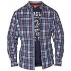 D555 Mens Navy Long Sleeve Cotton Check Shirt & Graphic T-shirt Combo Set