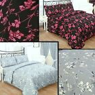 Black / Pink & Grey. Jasmines 3 pieces duvet set. Single double & king  beding