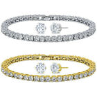 10.00ctw Zirconia Rhodium Plated or 14K Gold Plated Tennis Bracelet/Earrings Set