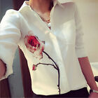 Women Tops Floral Printing Loose Shirt Elegant Lapel Collar Blouse Camisas KT8