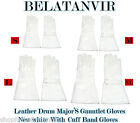 LEATHER DRUM MAJOR'S GAUNTLET GLOVES WHITE WITH CUFF BAND GLOVES S,M,L,XL
