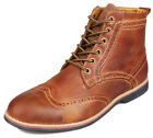 Kunsto Men's Leather Brogue Dress Boot Chukka Lace Up Wing-tip Shoes