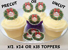 Merry Christmas Wreath Precut Rice Wafer Paper Cupcake Toppers 12 24 Or 35