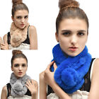 Hotest Lady Genuine Farms Rex Rabbit Fur Hand Knitting Wrap Snood Scarf Scarves