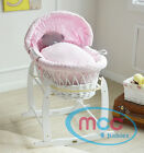 MCC&reg;  Full Set Deluxe Wicker Palm Moses Basket &amp; Cotton Dressing &amp; Rocking Stand <br/> Blue / Pink Dressing✔ Extra Soft Padding✔ RRP:&pound;139