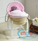 Full Set Deluxe Wicker Palm Moses Basket With Cotton Dressing &amp; Rocking Stand <br/> Blue / Pink Dressing✔ Extra Soft Padding✔ RRP:&pound;139