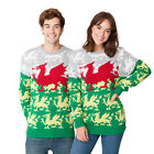 Unisex Mens Womens Christmas Xmas Jumper Knitted Sweater Wales Welsh Dragon Flag