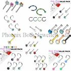 Assorted Pack of Nose Studs Rings Bones Screws - Choose Style & Pack Size