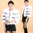 Ladies Women Overcoat Real Farm Ostrich Fur Warm Coat Jacket Outwear New Winter