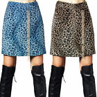 Womens Wild Animal Leopard Faux Fur Punky Cool Casual Street Party Skirt S-2XL
