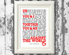 Westlife Us Against the World  Song Lyric Poster Art Typography Print Only