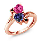 1.41 Ct Blue Iolite Pink Created Sapphire 18K Rose Gold Plated Silver Ring