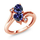 1.19 Ct Heart Shape Blue Iolite 18K Rose Gold Plated Silver Ring
