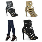 Womens Ladies New Stiletto Heels Shoes Caged Cut Up Detail Lace Fastening Size