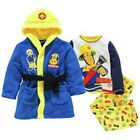 Fireman Sam:robe/dressing Gown + Pyjama Set,2/3,3/4,4/5,5/6yr, New With Tags