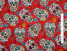 Folkloric Skull Day Of Dead Fabric ~ 100% Cotton  24 Inches  ~ Skull Flower Red