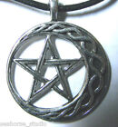 WICCA STABILITY AMULET Pewter PENTACLE Crescent Moon PENDANT & blk necklace cord
