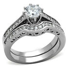 Round Cut CZ Silver Stainless Steel Engagement Wedding Ring Set Women Size 5-10