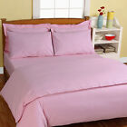SOLID PLAIN DYED BEDROOM EGYPTIAN COTTON BED COVER FLAT SHEET ALL UK SIZE-(PINK)