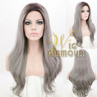 "Long Curly 20"" / 28"" Black Mixed Grey Ombre Lace Front Wig Heat Resistant"