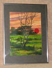 Vintage Acrylic Painting by Raymond Callebaut Sunset Over Meadow Framed 12 x 16""