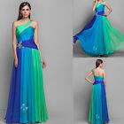 Stock One-Shoulder Long Formal Prom Evening Dress Party Gowns Bridesmaid Dress
