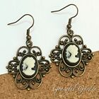 ER2892 Graceful Garden Vintage Victorian Style Lady Queen Cameo Charm Earrings