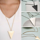 3 Colors Triangle Pendant Long Costume Fashion Necklaces For Women Necessities