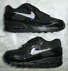 CUSTOMISED BLACK & SILVER CRYSTAL NIKE AIR MAX 90 PREMIUM WOMENS LADIES TRAINERS