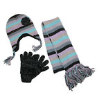 New CTM Womens Striped with Rosette Hat Gloves and Scarf Winter Set