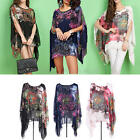 Women's Boho Style Floral Print Summer Batwing Sleeve Loose Chiffon Blouse Tops