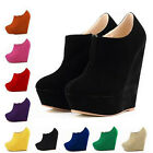 Fashion Wedge High Heels Platform Ankle Boots Suede Round Toe Women's Shoes New